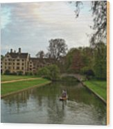 Cambridge Clare College Stream Boat And Boys Wood Print