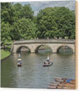 Cambridge Punting On The River Wood Print