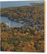 Camden Harbor In The Fall Wood Print