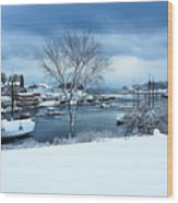 Camden Harbor In The Snow Wood Print