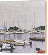 Camden Maine Marina Wood Print