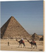 Camel Ride At The Pyramids Wood Print