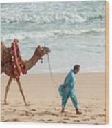 Camel Ride On Beach Wood Print
