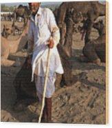 Camel Trader Pushkar Wood Print