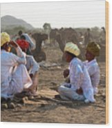 Camel Traders Pushkar Wood Print
