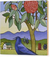 Camellia And Crow Wood Print by Stacey Neumiller