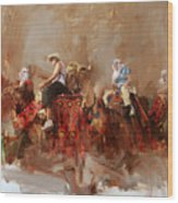 Camels And Desert 14 Wood Print