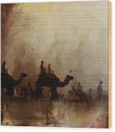 Camels And Desert 18 Wood Print