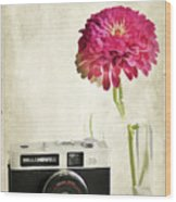 Camera And Flowers Wood Print