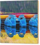 Cameron Lake Paddle Boats Wood Print