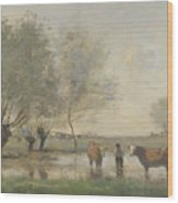 Camille Corot   Cows In A Marshy Landscape Wood Print