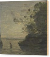 Camille Corot   Evening On The Lake Wood Print