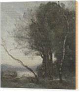 Camille Corot   The Leaning Tree Trunk Wood Print