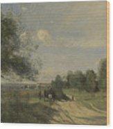 Camille Corot   The Wagon Souvenir Of Saintry Wood Print