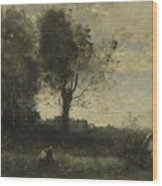 Camille Corot   The Wood Gatherer Wood Print