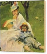 Camille Monet And Her Son Jean In The Garden At Argenteuil 1874 Wood Print