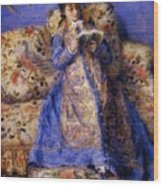 Camille Monet Reading 1872 Wood Print