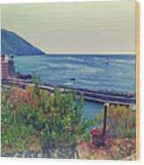 Camogli, Panorama Of The Sea. Wood Print