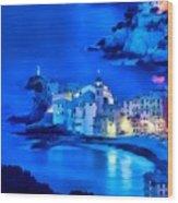 Camogli Sunrise - Camogli All'alba Paint1 Wood Print