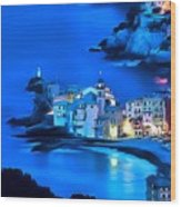 Camogli Sunrise - Camogli All'alba Paint2 Wood Print