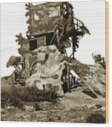 Camouflage Observation Tower Near Asilomar And The Point Pinos Lighthouse 1941 Wood Print