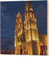 Campeche Cathedral At Evening Wood Print