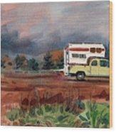 Camper On Pacific Coast Highway Wood Print