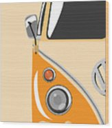 Camper Orange Wood Print by Michael Tompsett