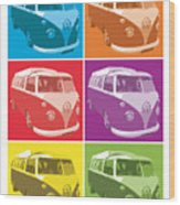 Camper Van Pop Art Wood Print by Michael Tompsett