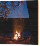 Campfire At Dusk Wood Print