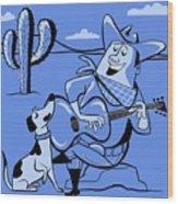 Campfire Cowboy Song Wood Print