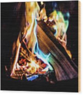 Campfire In July Wood Print