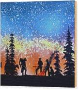 Campfire Tales Wood Print