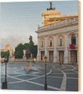 Campidoglio Square In Rome Wood Print