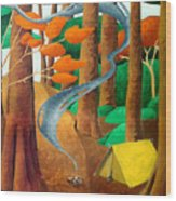 Camping - Through The Forest Series Wood Print