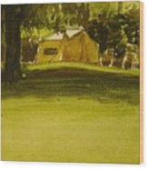 Camping In My Yellow Tent Wood Print