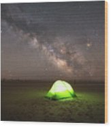 Camping Under The Milky Way Galaxy Wood Print