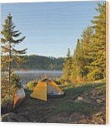 Campsite On Alder Lake Wood Print