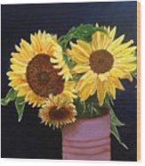 Can Of Sunflowers Wood Print