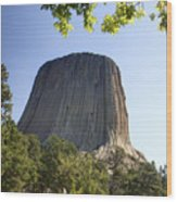 Can You Find The Climbers On Devils Tower Wyoming -1 Wood Print