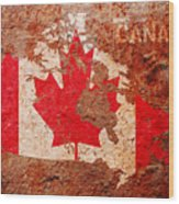 Canada Flag Map Wood Print