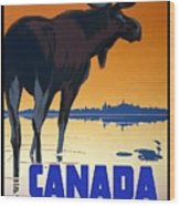 Canada For Big Game Travel Canadian Pacific - Moose - Retro Travel Poster - Vintage Poster Wood Print