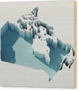 Canada Simple Intrusion Map 3d Render Wood Print