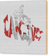 Canada Typographic Map Flag Wood Print