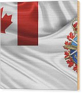 Canadian Armed Forces  -  C A F  Badge Over Flag Wood Print