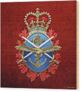 Canadian Armed Forces  -  C A F  Badge Over Red Velvet Wood Print