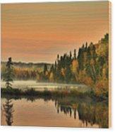 Canadian Autumn Sunrise Wood Print