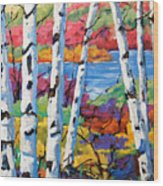Canadian Birches By Prankearts Wood Print
