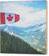 Canadian Flag Over Banff Wood Print