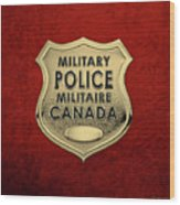 Canadian Forces Military Police C F M P  -  M P Officer Id Badge Over Red Velvet Wood Print